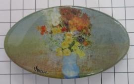 Haarspeld 8 cm ovaal HAO 407 blauwe vaas bloemen Vincent van Gogh
