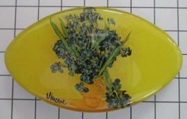 Haarspeld ovaal Klein 6 cm vaas irissen Vincent van Gogh HAK402