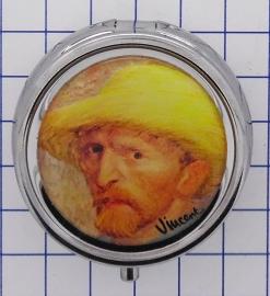 PIL408 pillendoosje met spiegel zelfportret hoed Vincent van Gogh