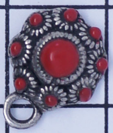 ZB002-R Zeeuwse knop met rode emaille