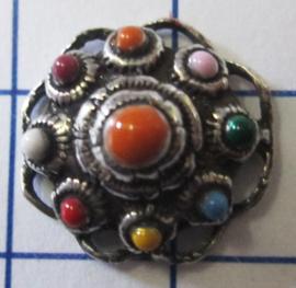 ZB008-MC zeeuwse knoop verzilverd oogjesrand multi colour emaille