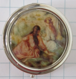 PIL 132 pillendoosje met spiegel twee meisjes zittend Renoir