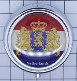PIL513 nederlandse vlag met wapen nederland pillendoosje met spiegel
