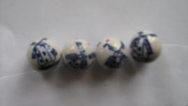 7 delftsblauwe molenkralen, porcelein en handgeschilderd, 18 mm rond