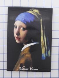 MAC:20.303  koelkastmagneet Johannes Vermeer Meisje met de parel gerestaureerde kleuren