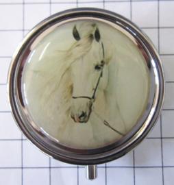 Pillendoosje wit paard met hoofdstel PIL 332
