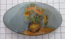 Haarspeld 8 cm ovaal HAO 403 vaas oranje keizerskroon Vincent van gogh