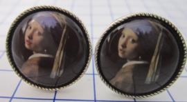 MAK 001 Manchetknopen verzilverd meisje parel van Johannes Vermeer