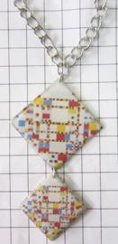 COL033 Exclusief ! Collier verzilverd Boogie Woogie van Piet Mondriaan