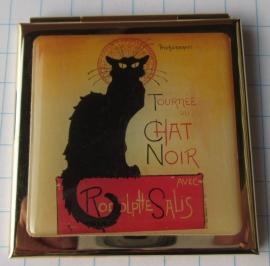 Verguld spiegeldoosje zwarte kat van Steinlen