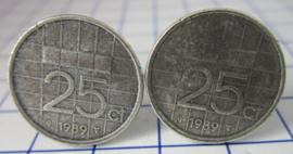 Manchetknopen verzilverd kwartje/25 cent 1989