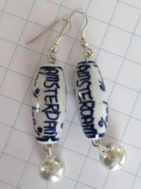 oorbellen handgeschlderd Delftsblauw 100% Amsterdam met belletje