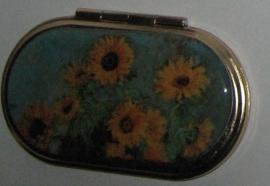 spiegeldoosje ovaal Claude Monet zonnebloemen, niet verguld