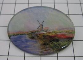 BRO 704 broche Monet molen met tulpenveld