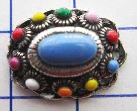 ZB015-MC Ovaal zeeuws knoopje verzilverd en met  multi colour emaille