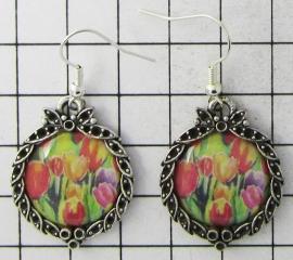 OOR 332 oorbellen kleurige tulpen