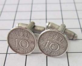 paar machetknopen dubbeltje verzilverd willekeurig jaartal
