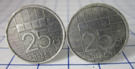 Manchetknopen verzilverd kwartje/25 cent 1986
