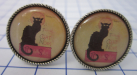 MAK 026 Manchetknopen verzilverd affiche zwarte kat Steinlen