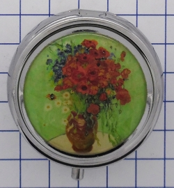 PIL423 pillendoosje met spiegel vaas rode bloemen Vincent van Gogh