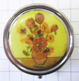 PIL400 pillendoosje met spiegel zonnebloemen Vincent van Gogh