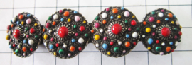 ZKG440-MC Haarspeld 6 cm met 4 zeeuwse knoppen multicolour emaille, zwaar verzilverd