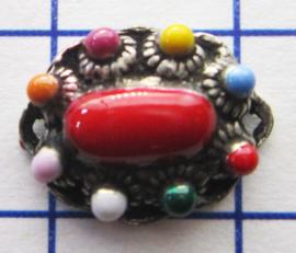 ZB014-MC ovaal zeeuws knoopje met twee kleine oogjes verzilverd met vrolijke  multi colour emaille