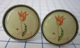 MAK 103 Manchetknopen verzilverd oude tulp Rijksmuseum