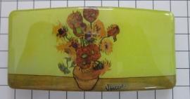 Haarspeld rechthoek 8 cm  HAR401 zonnebloemen Vincent van Gogh