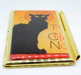 Adressenboekje echt verguld met pen, afbeelding zwarte kat Steinlen