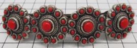 ZKG403-R Haarspeld zeeuwse knop rode emaille 8 cm
