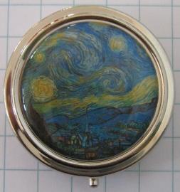 PIL407 pillendoosje met spiegel sterrennacht Vincent van Gogh