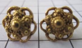 Nieuw kleine zeeuwse knop oorstekers met oogjesrand ZKO714-G verguld