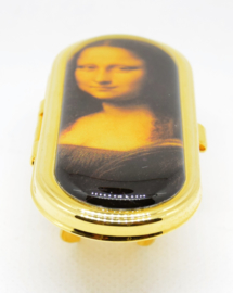 Lippenstifthouder met spiegel echt verguld, Mona Lisa
