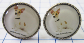 MAK041 Manchetknopen verzilverd Jack Russel terrier