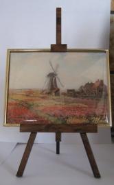 SCH 001 Schildersezeltje 22 cm hoog molen tulpenveld Claude Monet