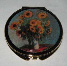 Spiegeldoosje verguld, zonnebloemen Claude Monet