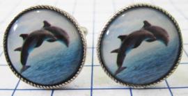 MAK048 Manchetknopen verzilverd Dolfijnen springend