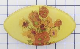 HAK 412 Haarspeld ovaal klein 6 cm zonnebloemen Vincent van Gogh