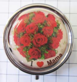 pil 052 pillendoosje met spiegel bos rozen ik hou van mama