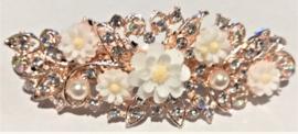 Haarspeld wit met bloemetjes en strass steentjes 7 cm , mooi voor bruiloft