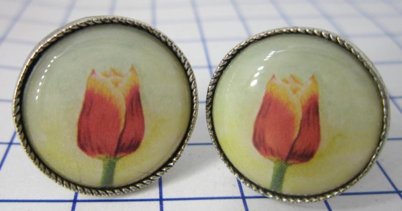 MAK 101 Manchetknopen verzilverd Tecla tulp rood met gele rand