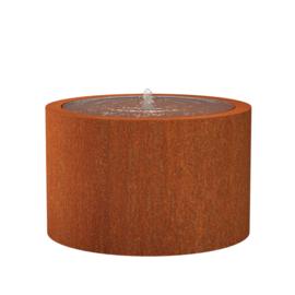 Cortenstaal watertafel rond 'Vanna' Ø120xH75 cm incl. 1 x fontein & ledverlichting