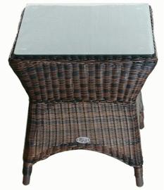 wicker bijzet tafel 'Bilbao' bruin - rond vlechtwerk