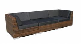 3-delige wicker Loungebank 'Pamplona' bruin - plat vlechtwerk