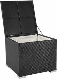 wicker opbergbox 'Pamplona II' zwart  - plat vlechtwerk