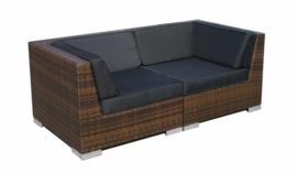 2-delige wicker Loungebank 'Pamplona' bruin - plat vlechtwerk