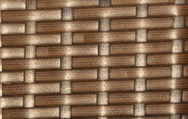 7-delige wicker Loungeset 'Pamplona'  bruin  - plat vlechtwerk