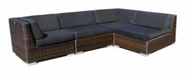 4-delige wicker loungeset 'Pamplona' bruin - rond vlechtwerk