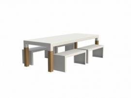 Tuintafel Aluminium 'Torras Wood' L260xB100xH75 cm
